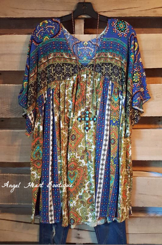 Leave You Breathless Tunic - Blue Mix - Velzera - Dress - Angel Heart Boutique  - 2