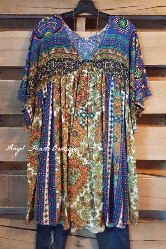 Leave You Breathless Tunic - Blue Mix - Velzera - Dress - Angel Heart Boutique  - 1