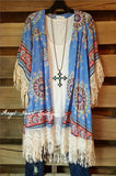 Paisley Sunset Kimono - Blue - Umgee - Cardigan - Angel Heart Boutique  - 1