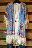 Paisley Sunset Kimono - Blue - Umgee - Cardigan - Angel Heart Boutique  - 2