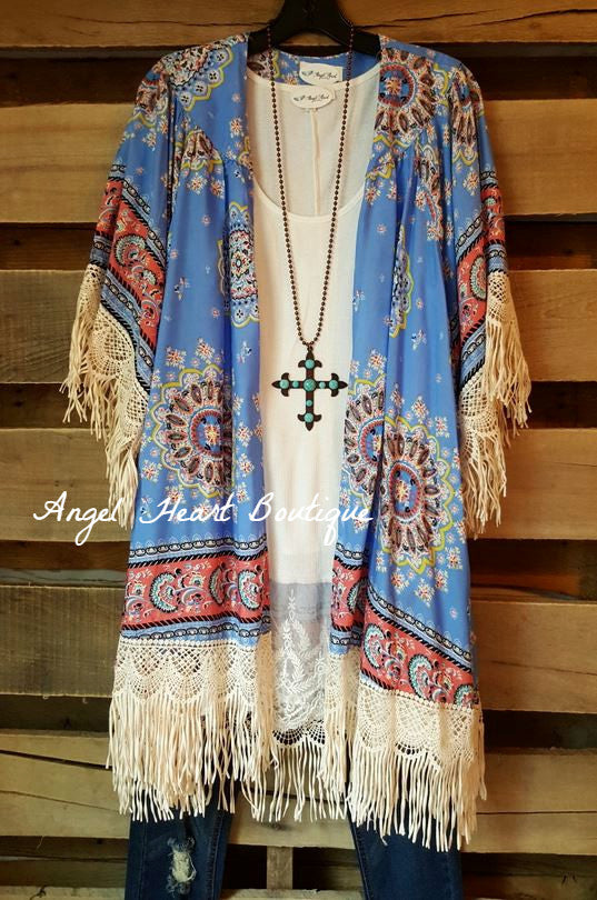 Paisley Sunset Kimono - Blue - Umgee - Cardigan - Angel Heart Boutique  - 3