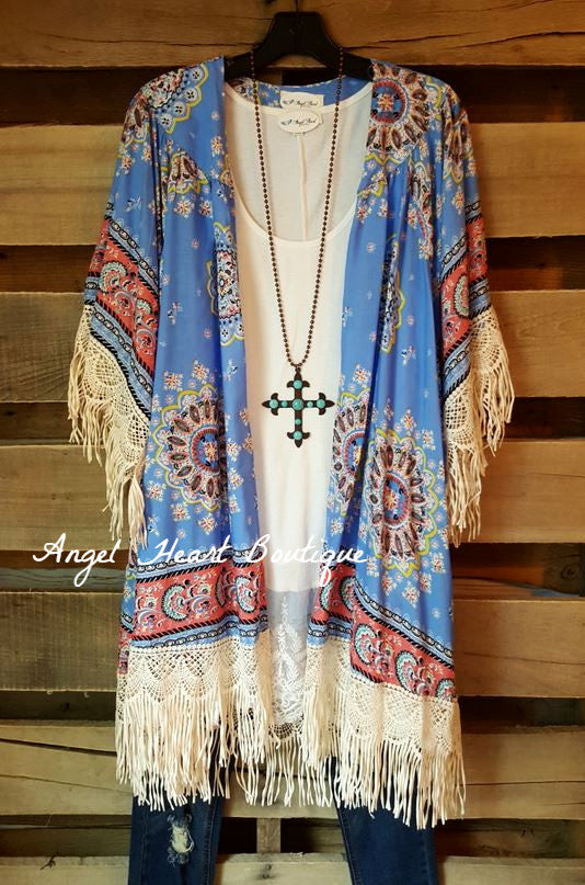 Paisley Sunset Kimono - Blue - Umgee - Cardigan - Angel Heart Boutique  - 4