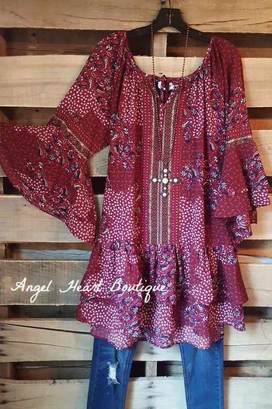 My Favorite Feeling Dress - Wine - Umgee - Dress - Angel Heart Boutique  - 1