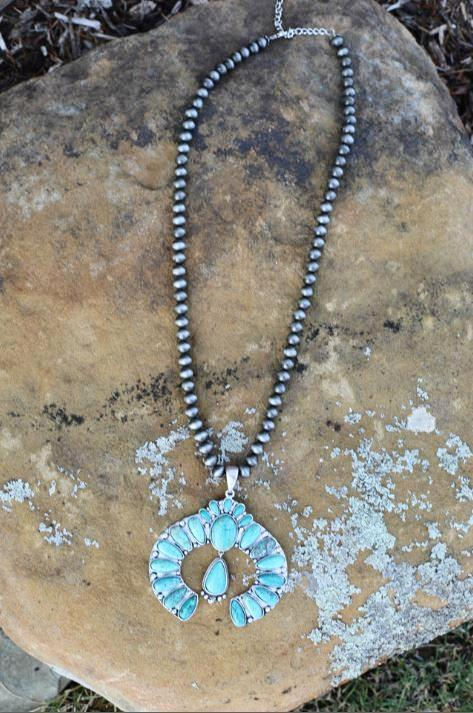 AUTHENTIC TURQUOISE STONE - LYRA NECKLACE
