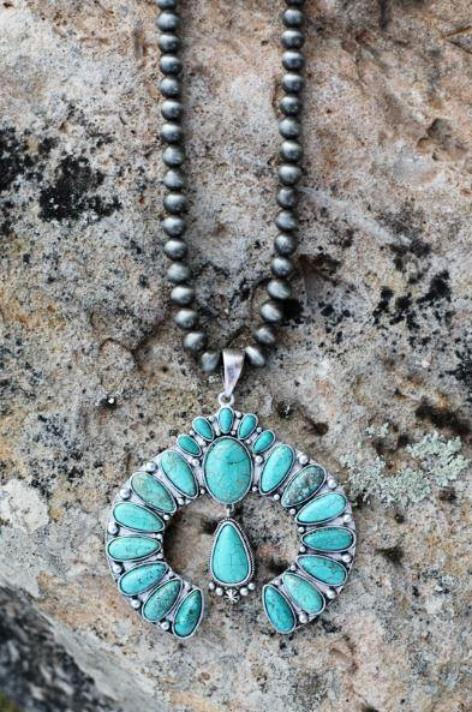 AUTHENTIC TURQUOISE STONE - LYRA NECKLACE [product type] - Angel Heart Boutique
