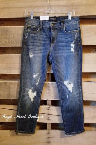 Leopard Distressed Jeans - Mid Wash
