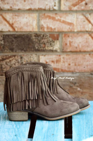 Fringe with Benefits Boots - Taupe - SALE