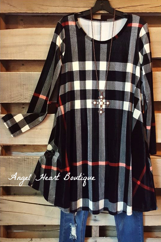 This Plaid Is Here To Stay Dress - Black - Cezanne - Dress - Angel Heart Boutique