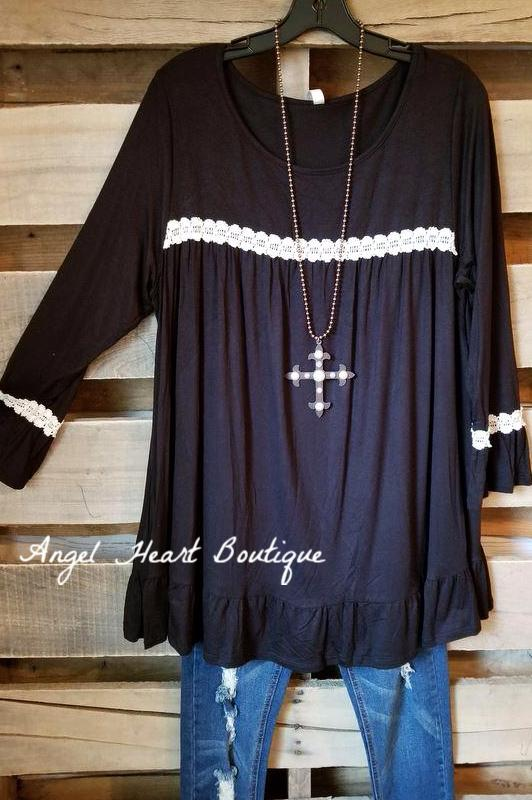 Searching For Love Tunic - Black [product type] - Angel Heart Boutique