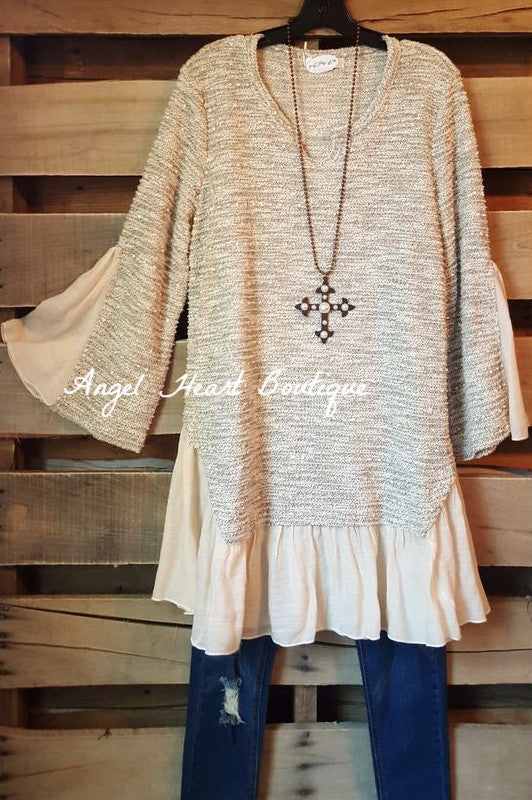 Twice The Charm Sweater - Beige - Angel Heart Boutique - Tunic - Angel Heart Boutique