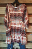 What A Feeling Tunic - Brick - Angel Heart Boutique - Tunic - Angel Heart Boutique  - 1