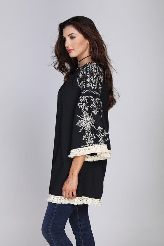 My Mystery Side Tunic - Black - 100% COTTON [product type] - Angel Heart Boutique