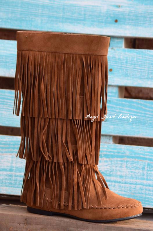 Fringe with Benefits Boots - Tan - SALE - Angel Heart Boutique - Boots - Angel Heart Boutique  - 1
