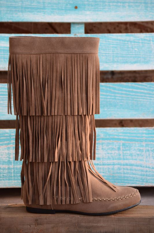 Fringe with Benefits Boots - Taupe - SALE - Angel Heart Boutique - Boots - Angel Heart Boutique  - 3
