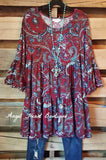 Love & Paisley Tunic - Wine - Sassybling - TUNIC - Angel Heart Boutique  - 1
