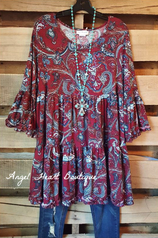 Love & Paisley Tunic - Wine - Sassybling - TUNIC - Angel Heart Boutique  - 2