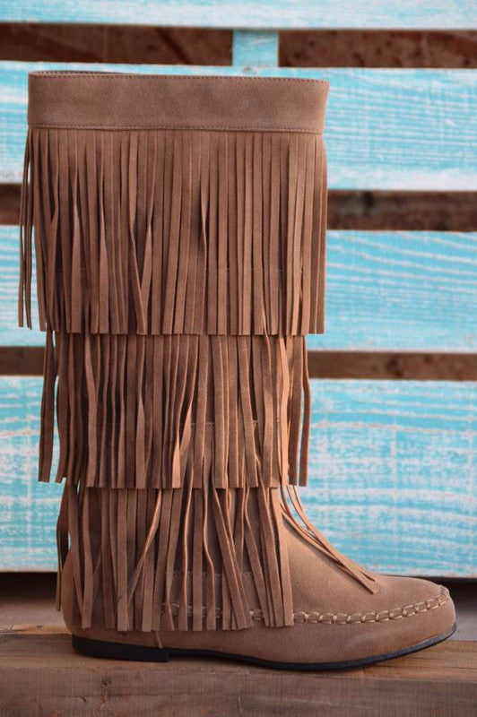 Fringe with Benefits Boots - Taupe - SALE - Angel Heart Boutique - Boots - Angel Heart Boutique  - 1