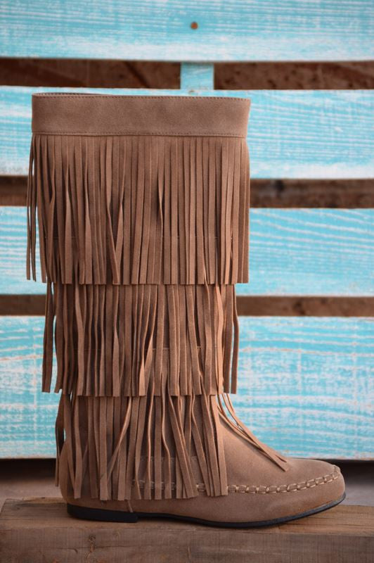 Fringe with Benefits Boots - Taupe - SALE - Angel Heart Boutique - Boots - Angel Heart Boutique  - 4