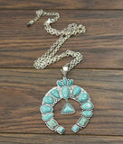 AUTHENTIC Turquoise Stone - Squash Chain Necklace [product type] - Angel Heart Boutique