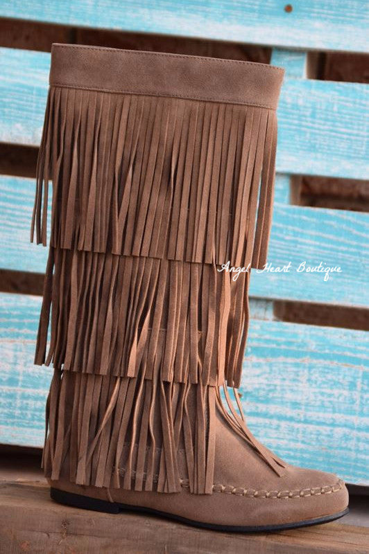 Fringe with Benefits Boots - Taupe - SALE - Angel Heart Boutique - Boots - Angel Heart Boutique  - 2