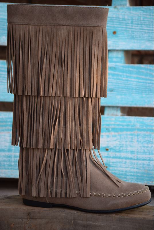 Fringe with Benefits Boots - Taupe - SALE - Angel Heart Boutique - Boots - Angel Heart Boutique  - 5
