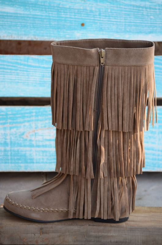 Fringe with Benefits Boots - Taupe - SALE - Angel Heart Boutique - Boots - Angel Heart Boutique  - 6