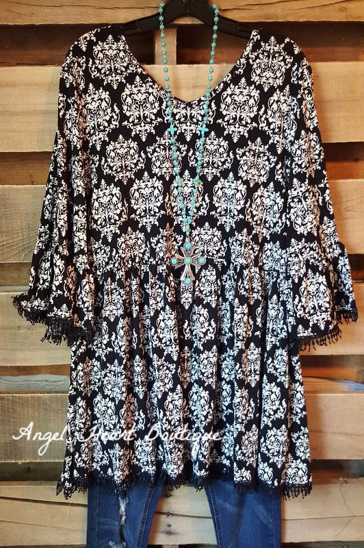 French Elegance Tunic - Black - Sassybling - Tunic - Angel Heart Boutique  - 1