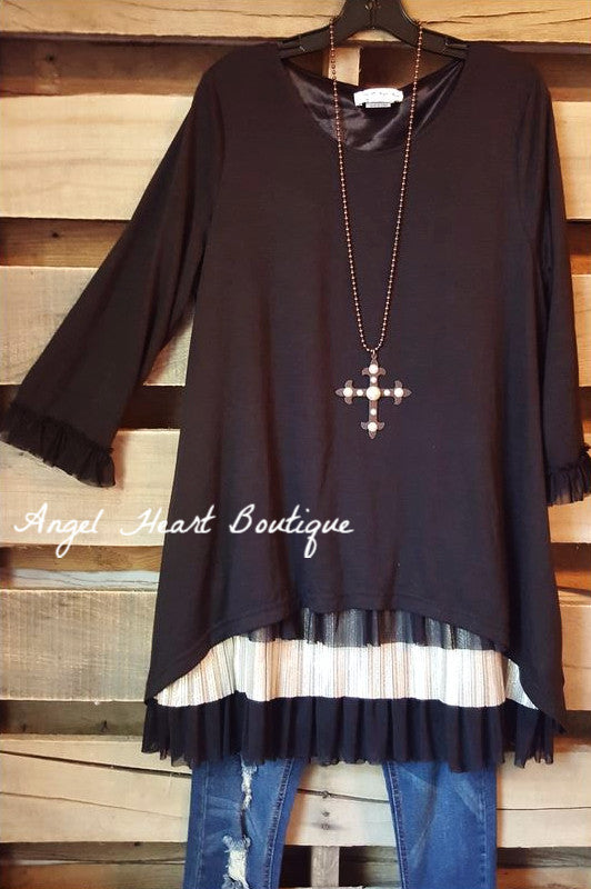 Love Always Tunic - Black - Sassybling - Tunic - Angel Heart Boutique  - 1