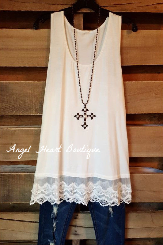 Extender: Slip on Tank/Tunic - Off White - Emerald - Dress - Angel Heart Boutique  - 2
