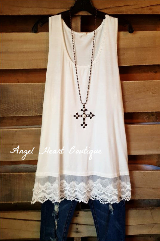 Extender: Slip on Tank/Tunic - Off White - Emerald - Dress - Angel Heart Boutique  - 3
