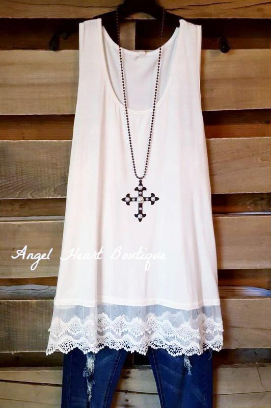 Extender: Slip on Tank/Tunic - Off White - Emerald - Dress - Angel Heart Boutique  - 1