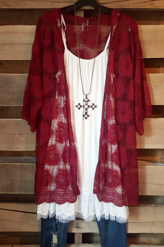 Perfect Soft Lace Cardigan - Wine