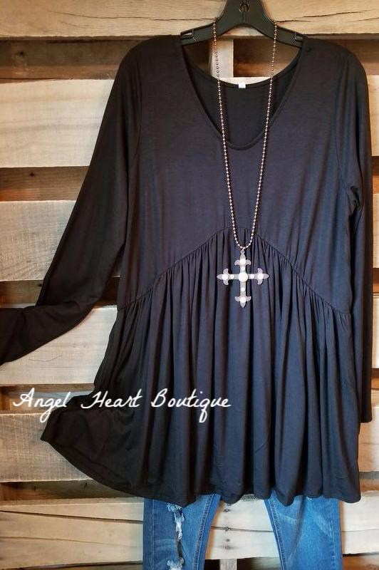 Straight From The Heart Tunic Long Sleeves - Black