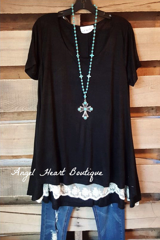 What Are You Waiting For Tunic - Black - Umgee - Tunic - Angel Heart Boutique  - 1