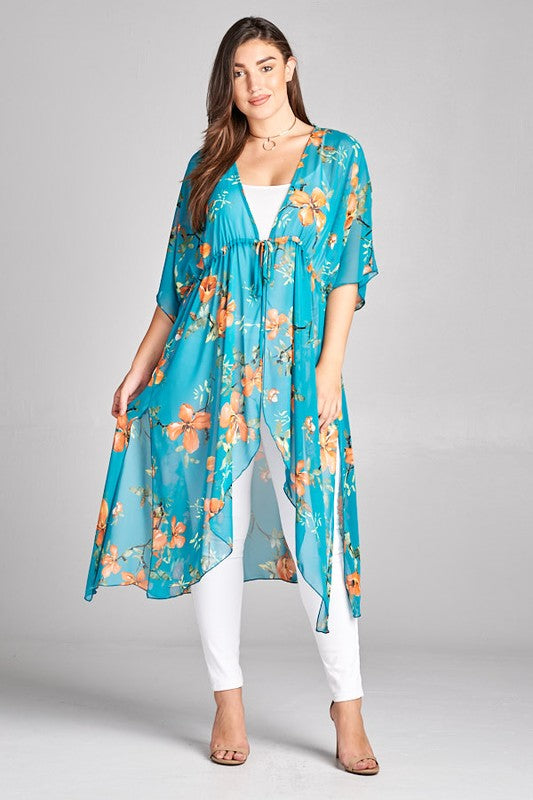 Just Like Paradise Duster Hi-Low Kimono - Jade [product type] - Angel Heart Boutique