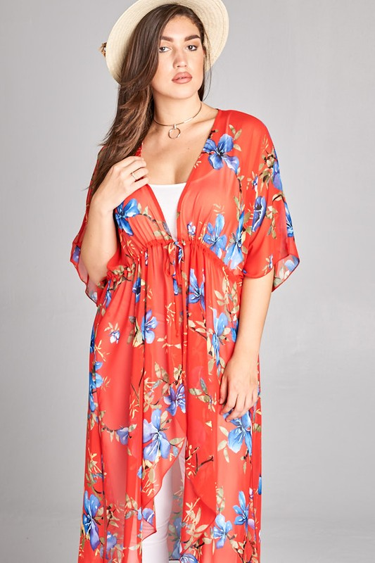 Just Like Paradise Duster Hi-Low Kimono - Coral [product type] - Angel Heart Boutique