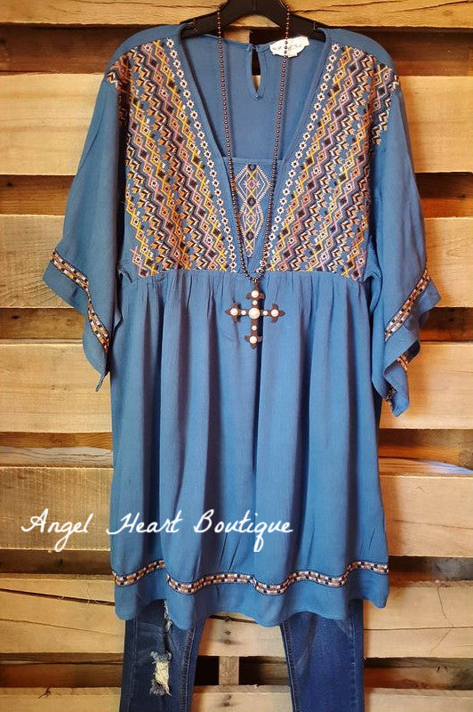Live Your Dream Tunic - Slate - Umgee - Tunic - Angel Heart Boutique