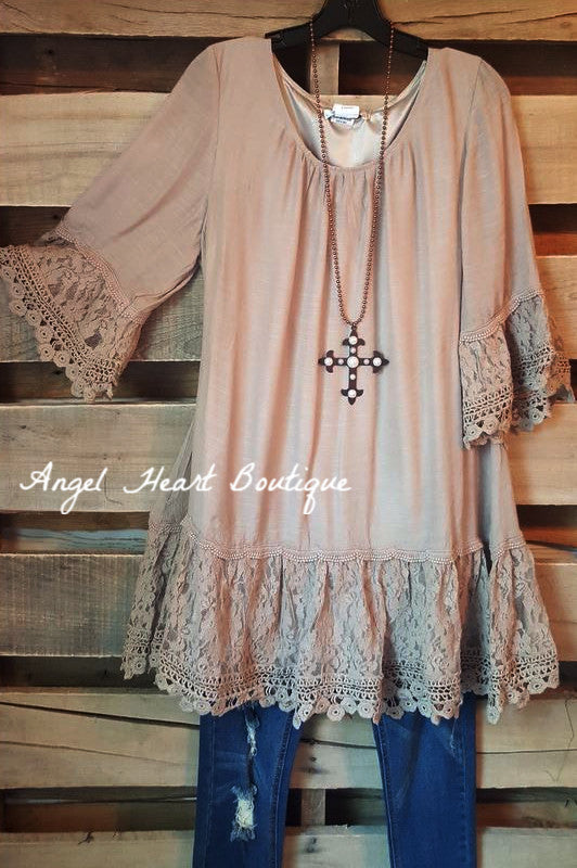 Welcome To Perfection Tunic - Mocha [product type] - Angel Heart Boutique