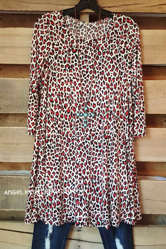 Wild For You Tunic - Leopard/Red - Angel Heart Boutique - Tunic - Angel Heart Boutique  - 1