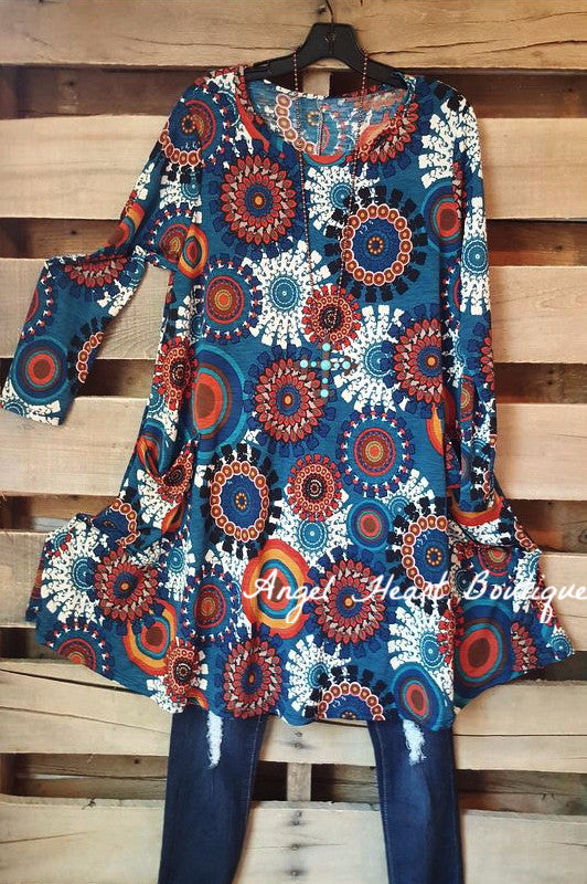 All You Need Tunic - Blue - Angel Heart Boutique - Dress - Angel Heart Boutique