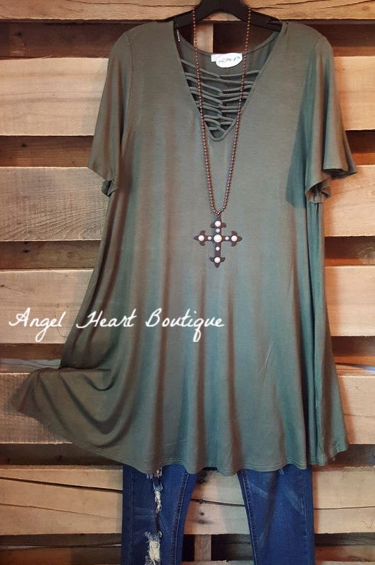 Simple & Classy Criss Cross Top - Olive