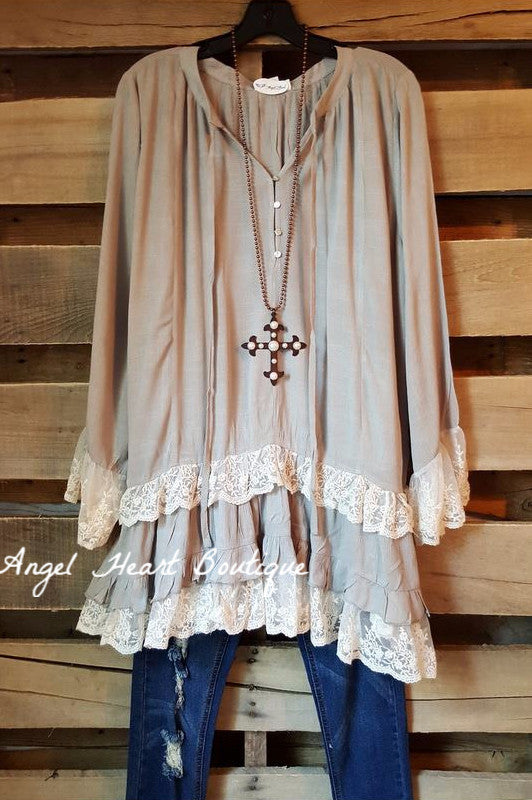 Make Your Mark Top - Gray - Angel Heart Boutique - Dress - Angel Heart Boutique  - 2
