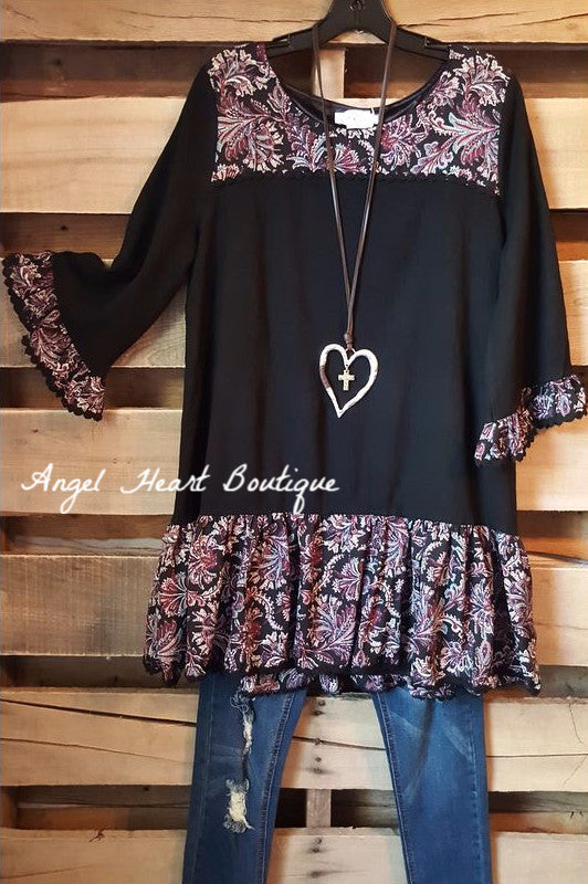 Love Above All Tunic - Black - Sassybling - Tunic - Angel Heart Boutique