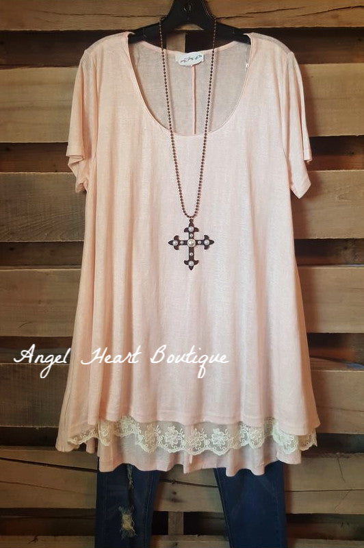 What Are You Waiting For Tunic - Peach - Umgee - Tunic - Angel Heart Boutique  - 1