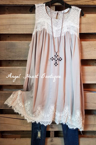 Long Lace Duster with Pearls - Purple