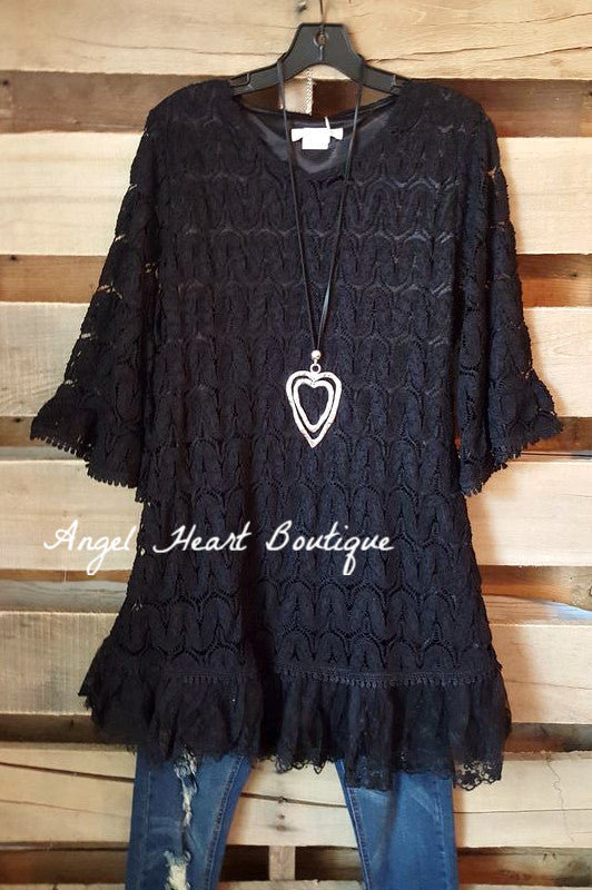 Searching For Love Tunic - Black - Sassybling - Tunic - Angel Heart Boutique  - 3