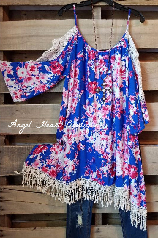 Floral Confession Dress - Blue