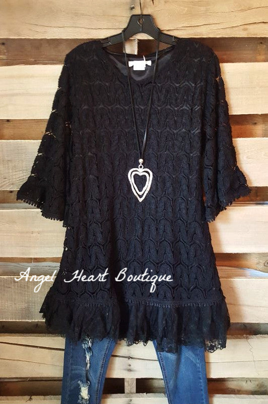 Searching For Love Tunic - Black - Sassybling - Tunic - Angel Heart Boutique  - 1