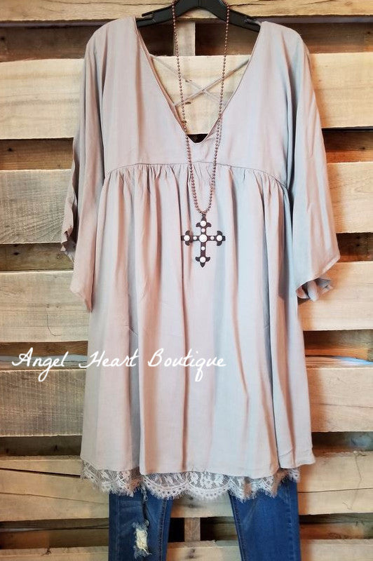 Here When You Need Me Tunic - Taupe