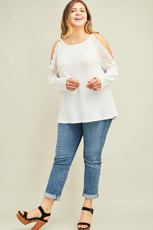 Light Up The Night Cold Shoulder Top - Off White - SALE